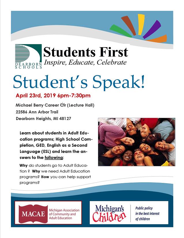 Students Speak 4/23/19 5:30pm-7:30pm