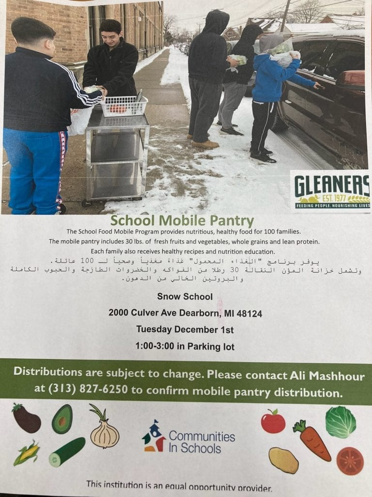Monthly food pantry reminder:  Tomorrow at 1 pm. Location: Snow Elementary School