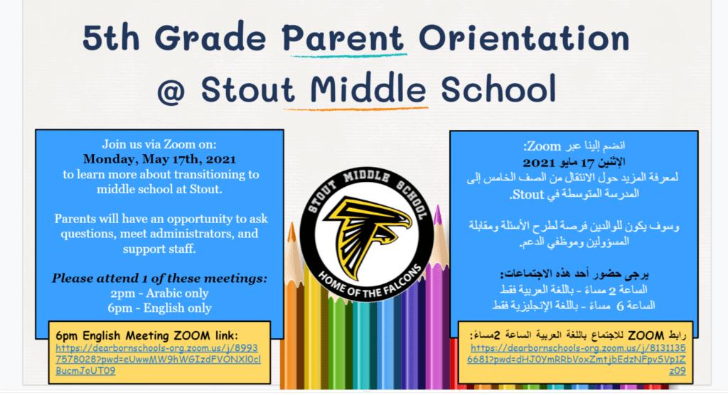 5th Grade Stout Parent Orientation TODAY!