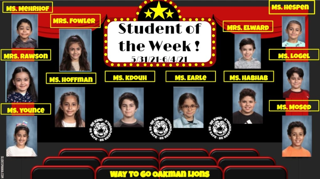 Students of the week 5/31/21-6/4/21
