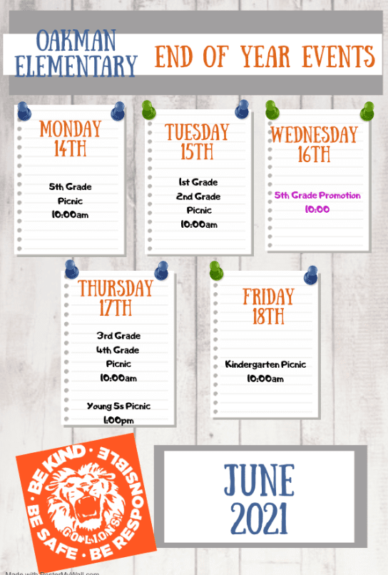 End of School Year Events