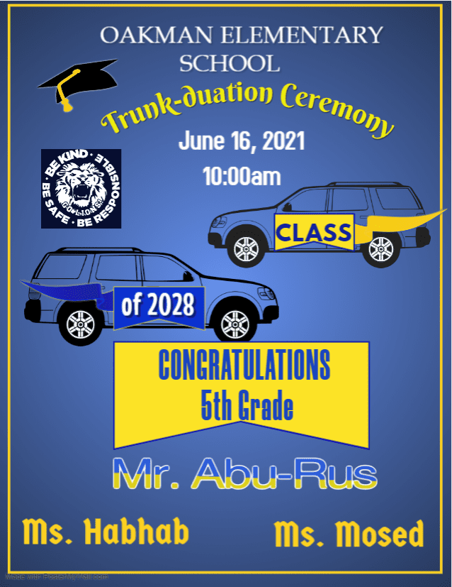 5th Grade Promotion Ceremony, Wednesday, June 16th, 2021 at 10:00am