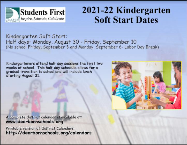 2021-22 Kindergarten Soft Start Dates