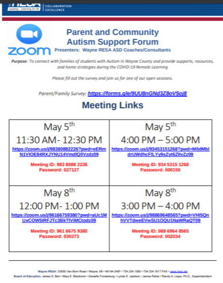 ASD Parent Support Zoom Meeting