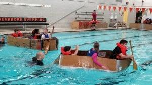 Kids in boat.