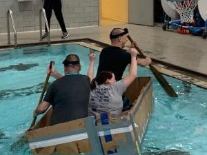 Teachers in their boat