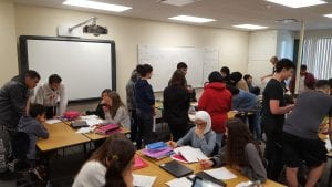 Students are working in a classroom