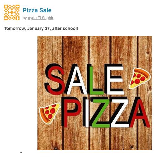 Pizza Sale Tomorrow!