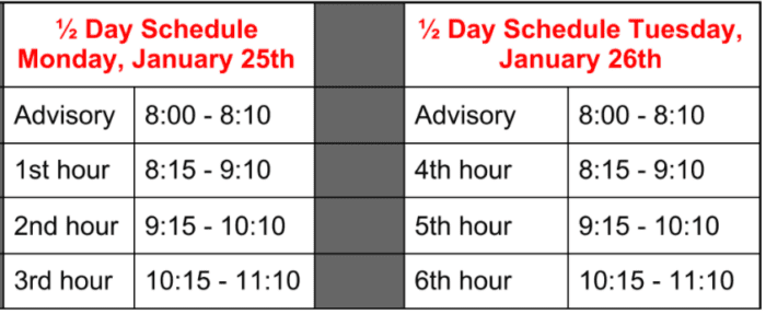 Schedule for Next Monday & Tuesday