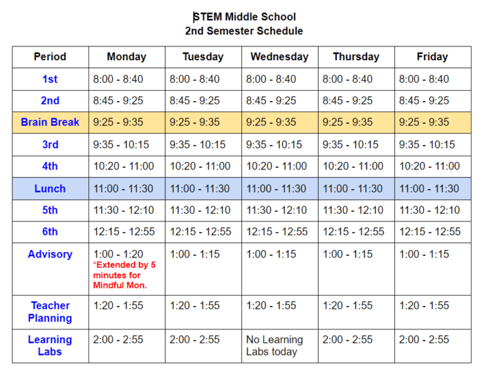 Schedule for Second Semester