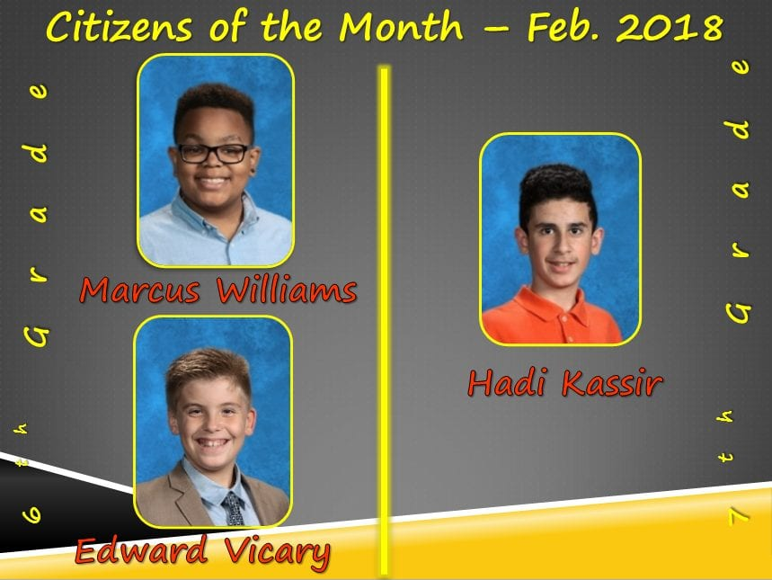 Citizens of the Month for February 2018