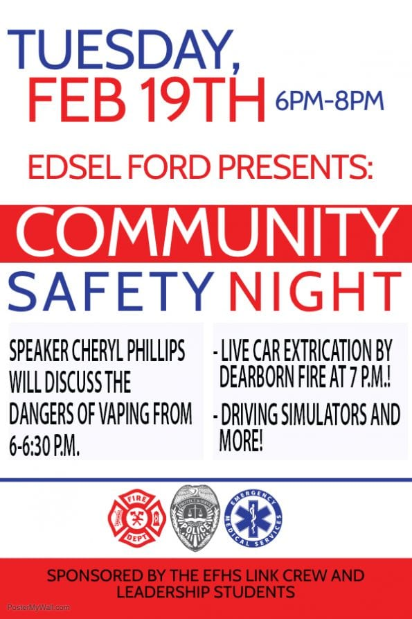 Community Safety Night at Edsel Ford:  Feb. 19, 2019