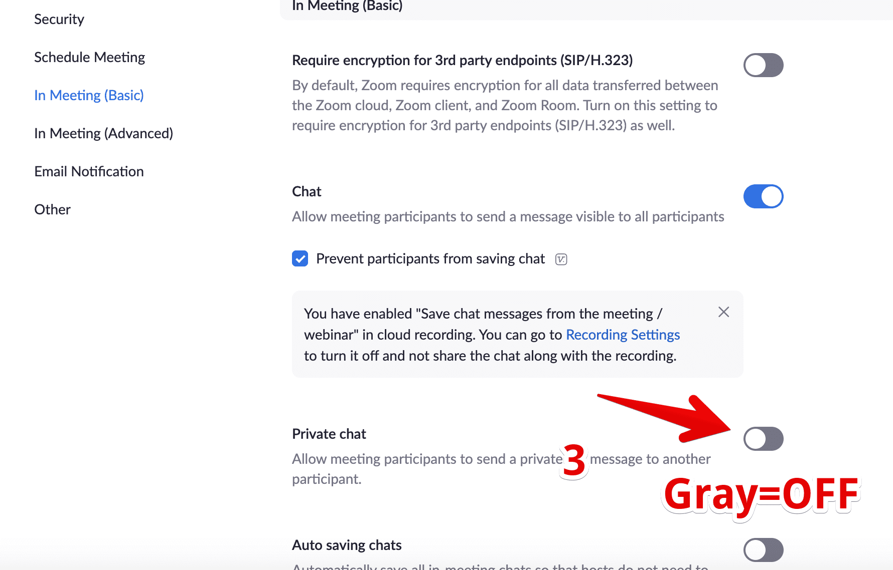 Zoom settings: private chat slider turned off