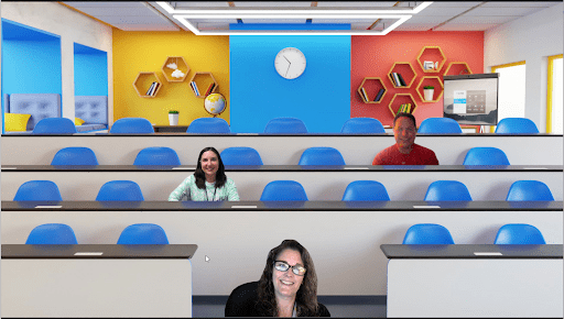 Zoom immersive view example of a classroom setting with a teacher and two students.