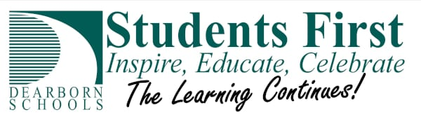 "Dearborn Schools Logo with added phrase ""The Learning Continues"""